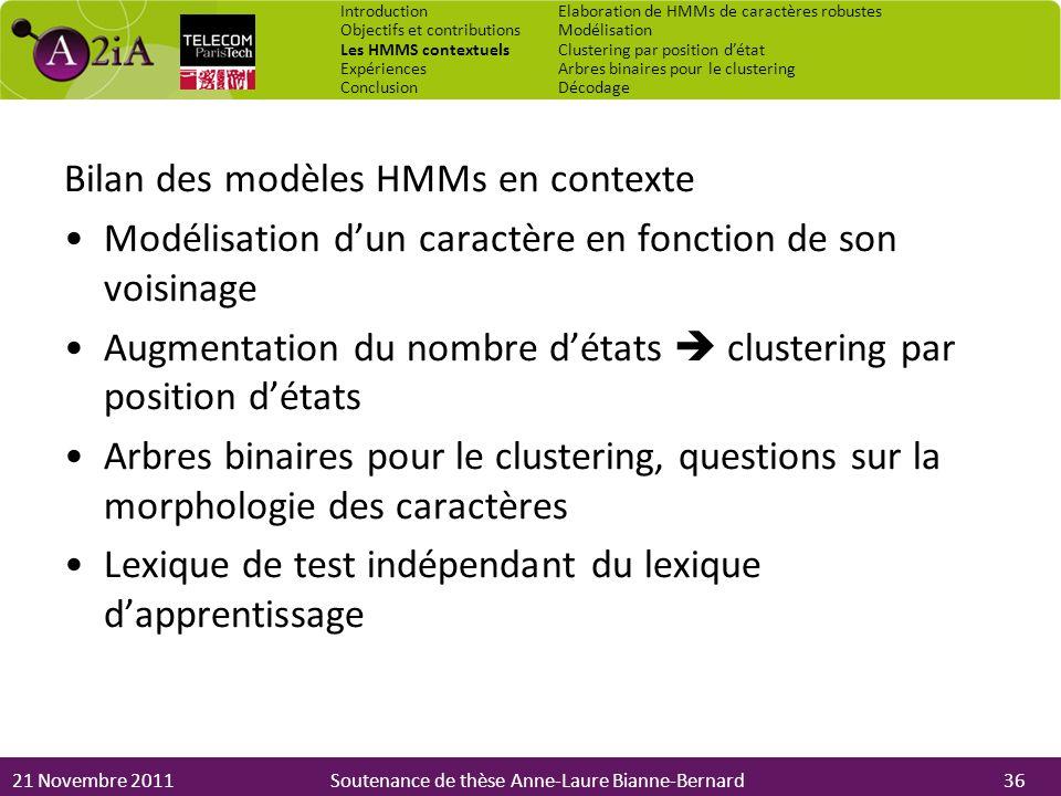 Bilan des modèles HMMs en contexte