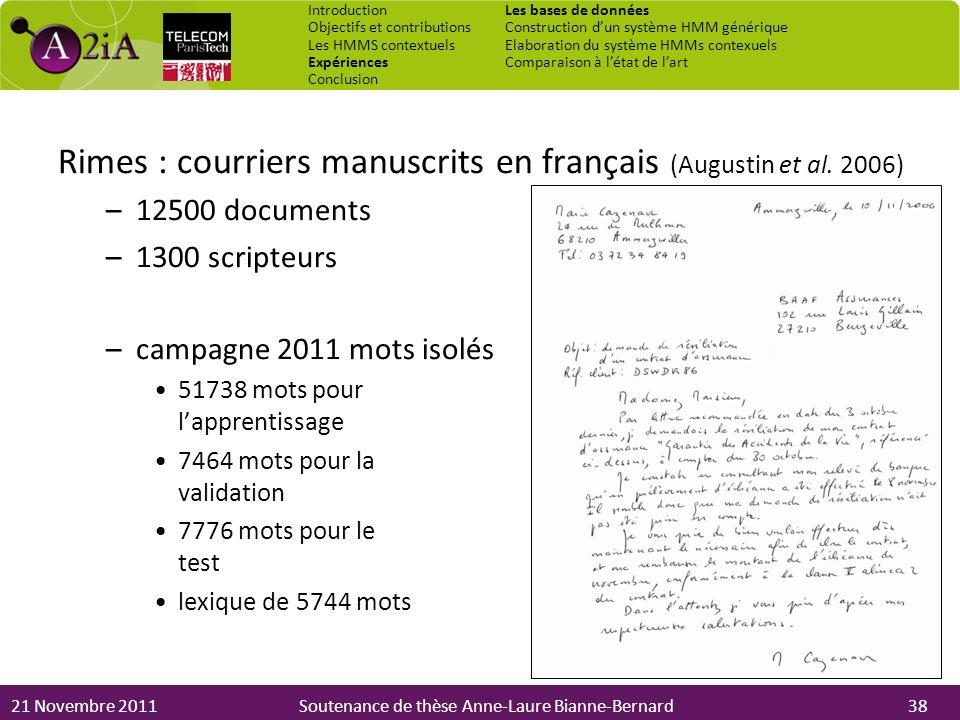 Rimes : courriers manuscrits en français (Augustin et al. 2006)