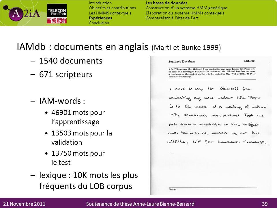 IAMdb : documents en anglais (Marti et Bunke 1999)