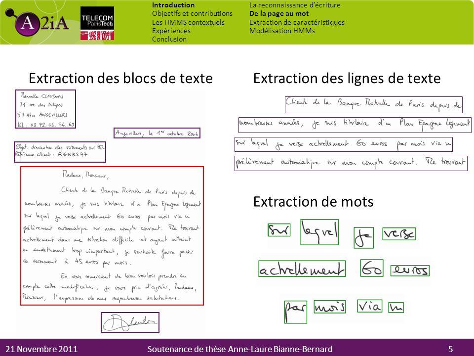 Extraction des blocs de texte Extraction des lignes de texte