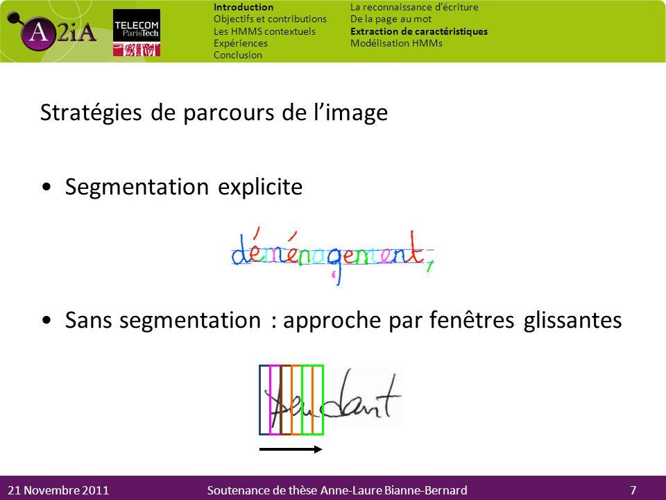 Stratégies de parcours de l'image Segmentation explicite