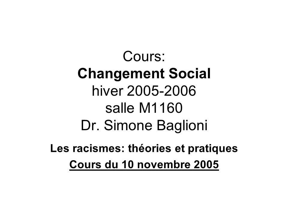 Les racismes: théories et pratiques Cours du 10 novembre 2005