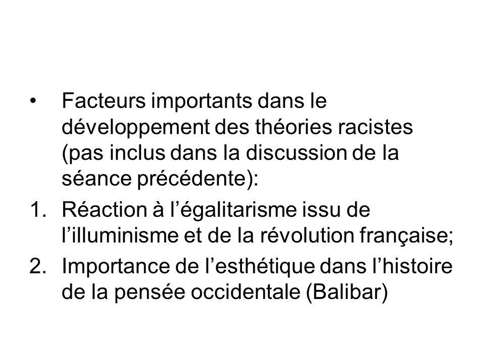 Facteurs importants dans le développement des théories racistes (pas inclus dans la discussion de la séance précédente):