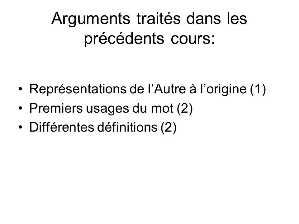 Arguments traités dans les précédents cours: