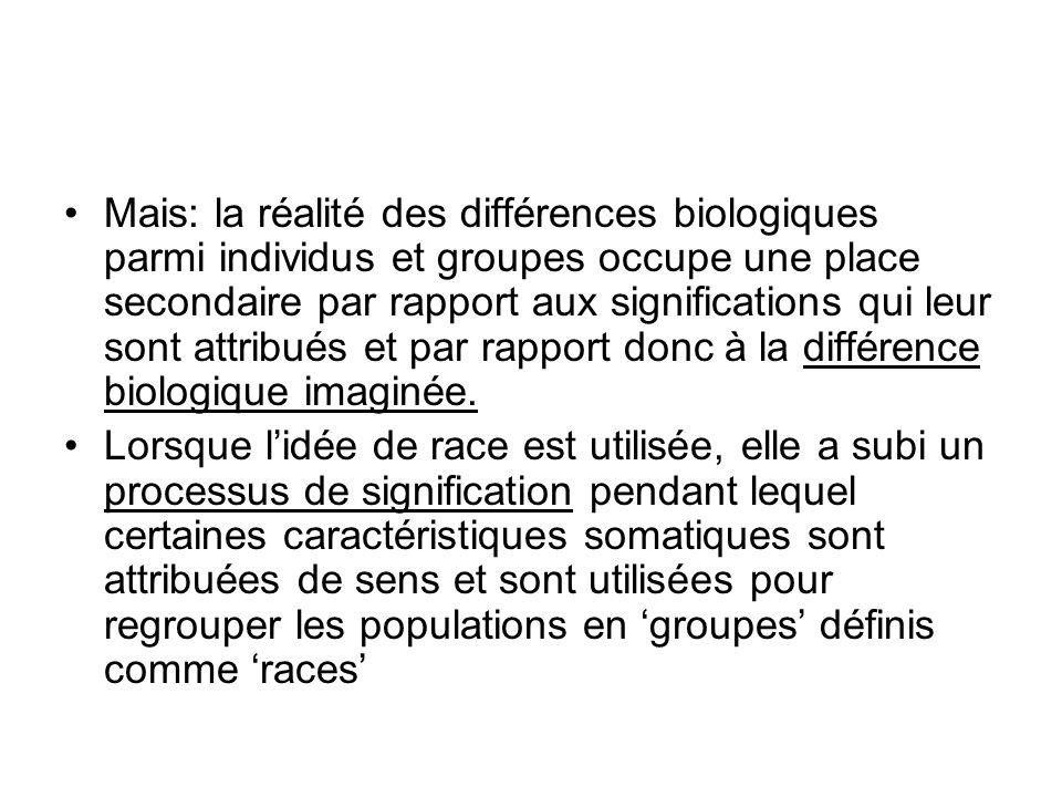 Mais: la réalité des différences biologiques parmi individus et groupes occupe une place secondaire par rapport aux significations qui leur sont attribués et par rapport donc à la différence biologique imaginée.