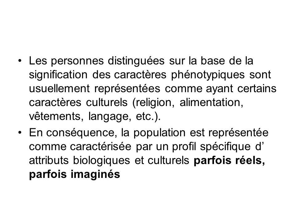 Les personnes distinguées sur la base de la signification des caractères phénotypiques sont usuellement représentées comme ayant certains caractères culturels (religion, alimentation, vêtements, langage, etc.).