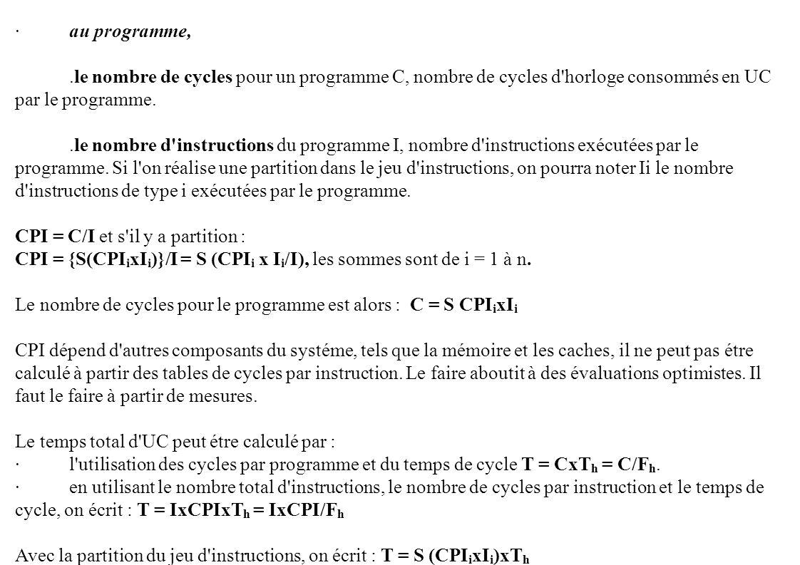 · au programme, .le nombre de cycles pour un programme C, nombre de cycles d horloge consommés en UC par le programme.
