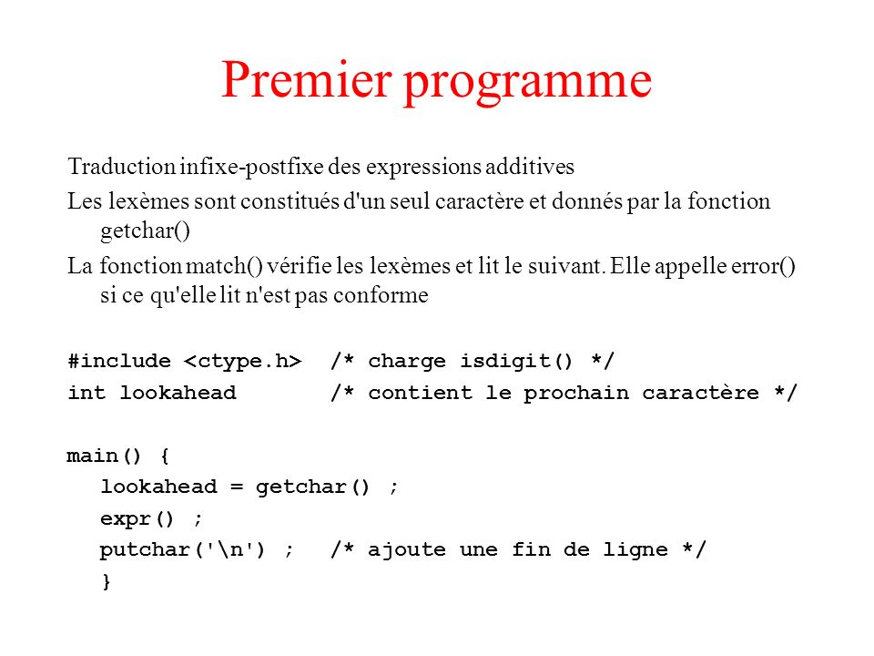 Premier programme Traduction infixe-postfixe des expressions additives