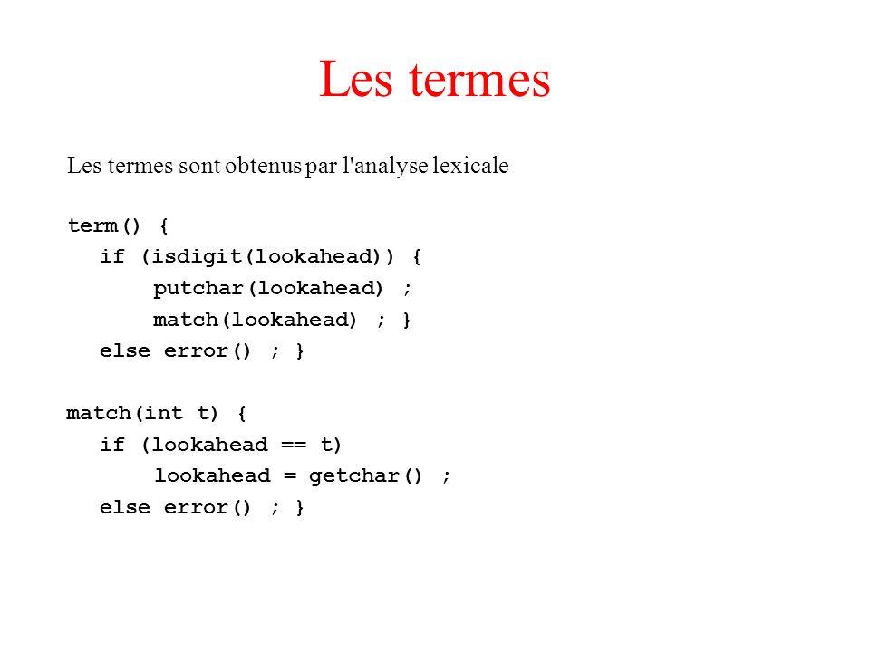 Les termes Les termes sont obtenus par l analyse lexicale term() {