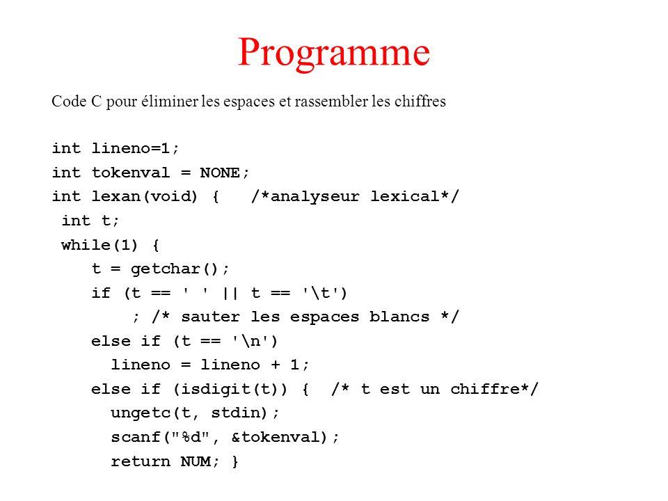 Programme Code C pour éliminer les espaces et rassembler les chiffres