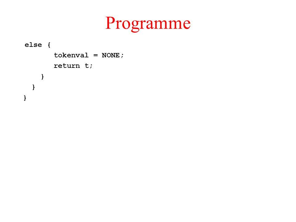 Programme else { tokenval = NONE; return t; }