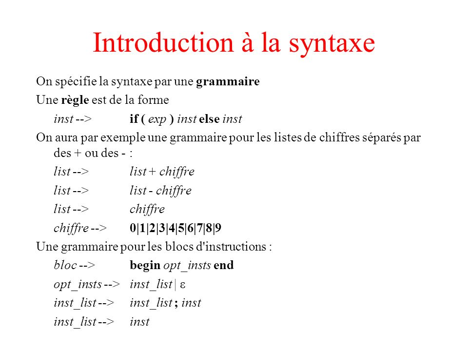Introduction à la syntaxe