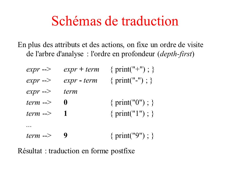 Schémas de traduction En plus des attributs et des actions, on fixe un ordre de visite de l arbre d analyse : l ordre en profondeur (depth-first)
