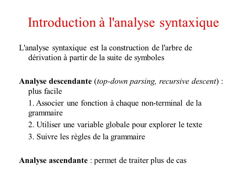Introduction à l analyse syntaxique