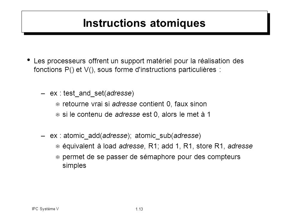 Instructions atomiques