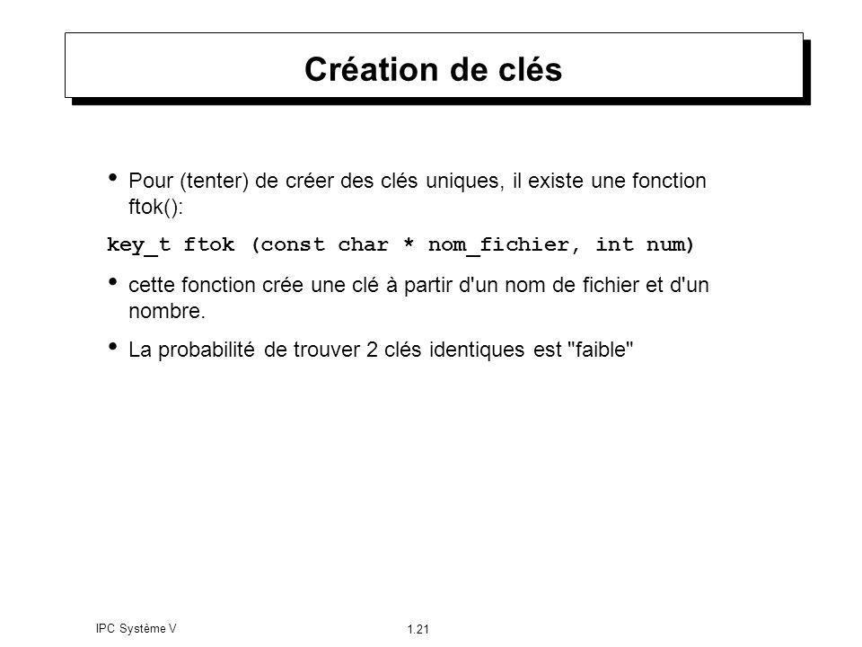 Création de clés Pour (tenter) de créer des clés uniques, il existe une fonction ftok(): key_t ftok (const char * nom_fichier, int num)