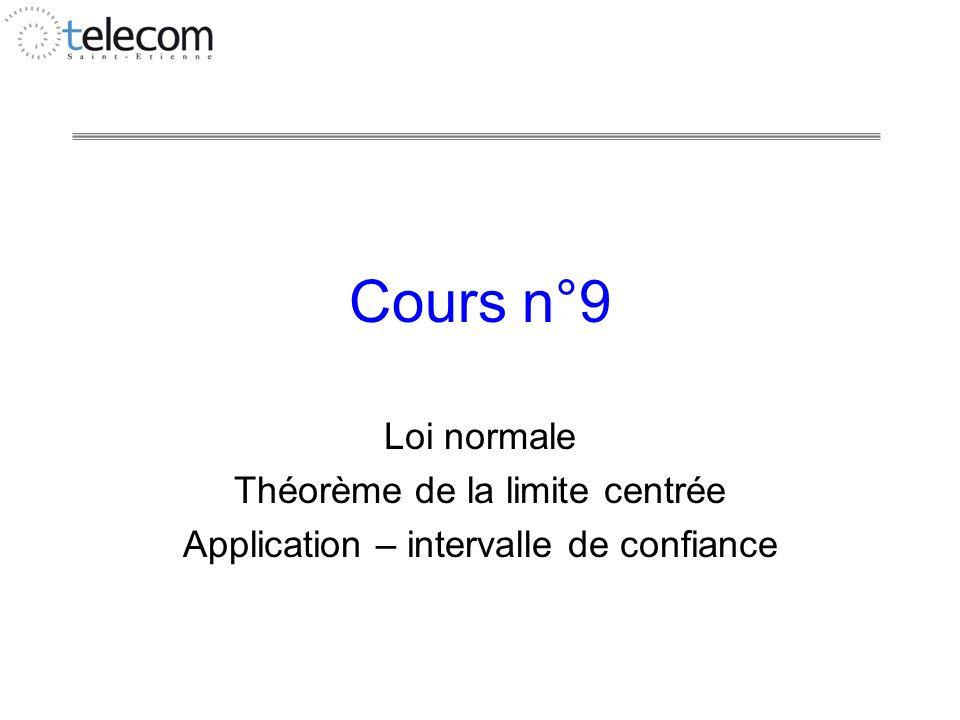 Cours n°9 Loi normale Théorème de la limite centrée