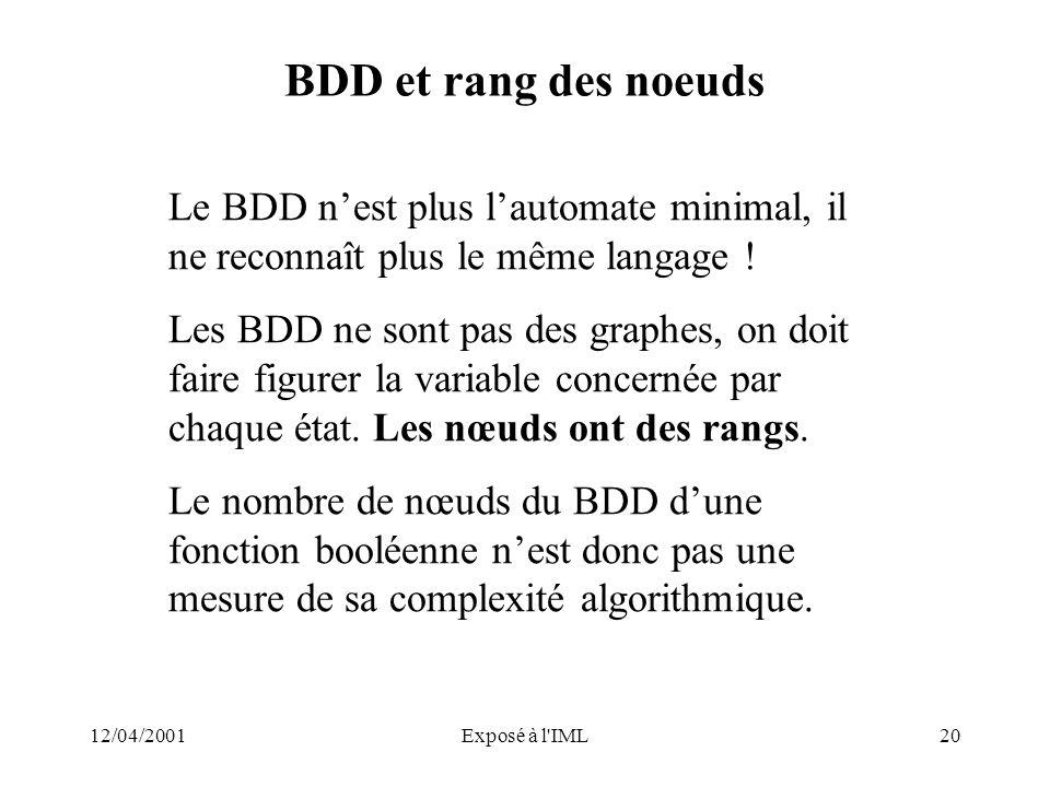 BDD et rang des noeuds Le BDD n'est plus l'automate minimal, il ne reconnaît plus le même langage !