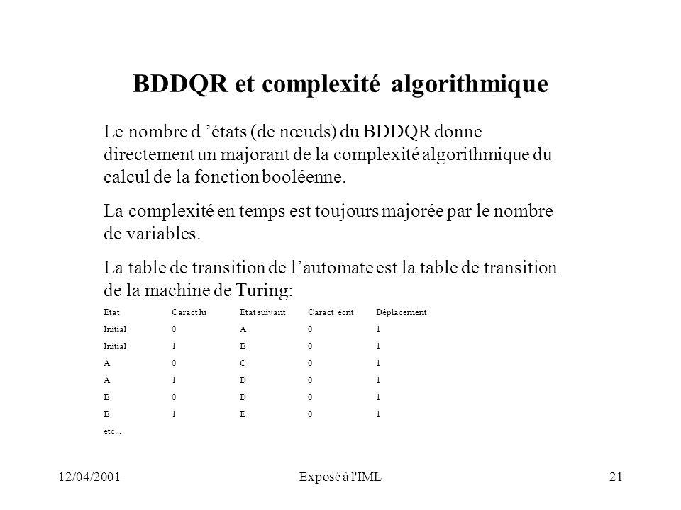 BDDQR et complexité algorithmique