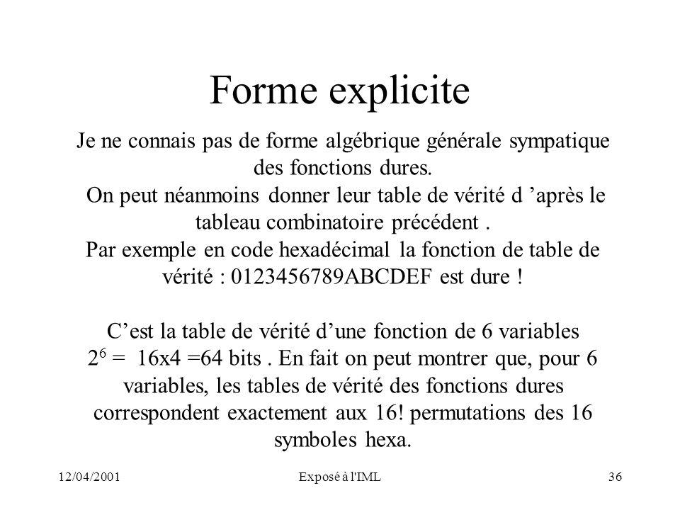 C'est la table de vérité d'une fonction de 6 variables