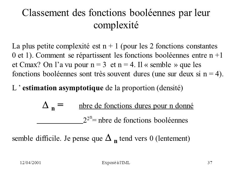 Classement des fonctions booléennes par leur complexité