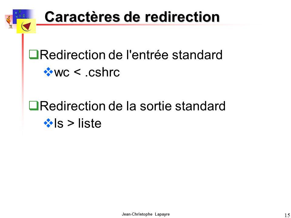 Caractères de redirection