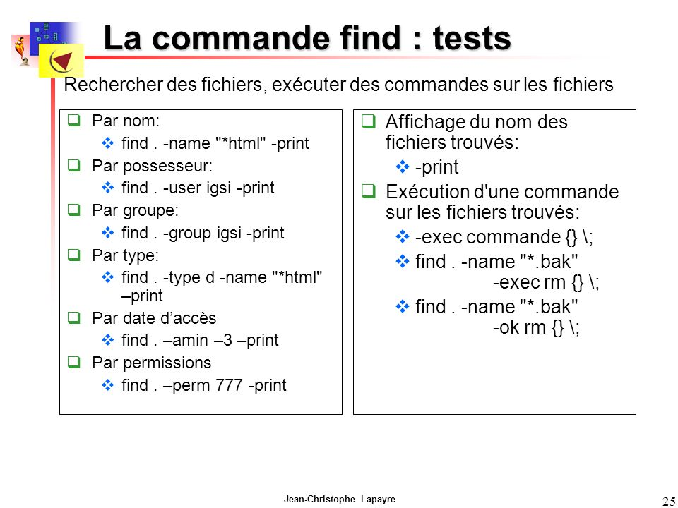 La commande find : tests
