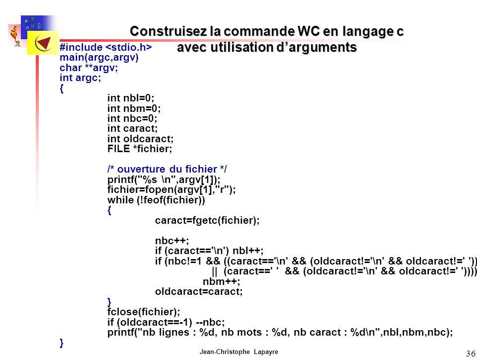 Construisez la commande WC en langage c avec utilisation d'arguments