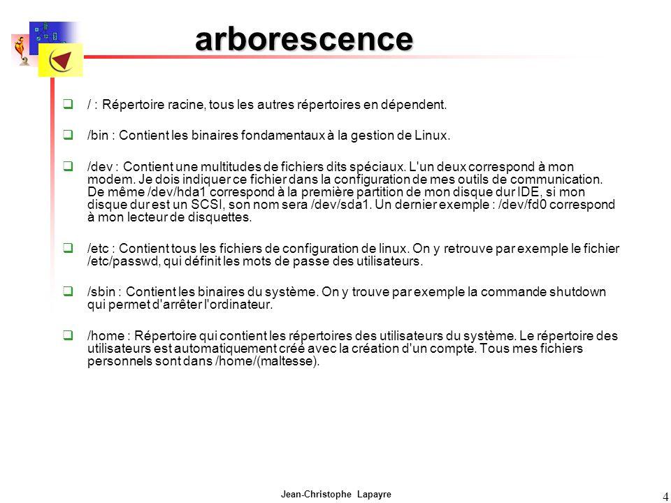 arborescence / : Répertoire racine, tous les autres répertoires en dépendent. /bin : Contient les binaires fondamentaux à la gestion de Linux.