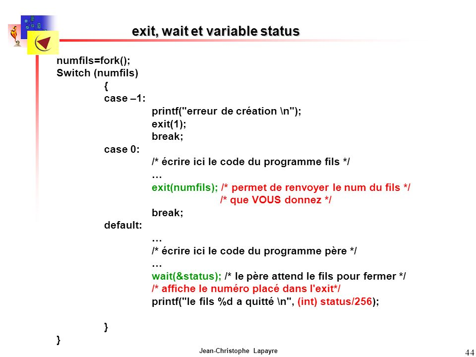 exit, wait et variable status
