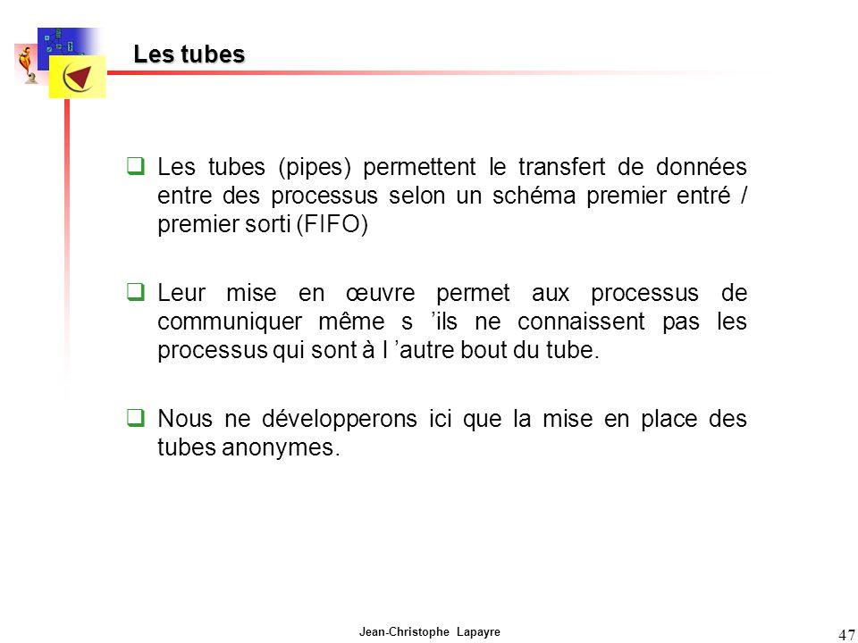 Les tubes Les tubes (pipes) permettent le transfert de données entre des processus selon un schéma premier entré / premier sorti (FIFO)