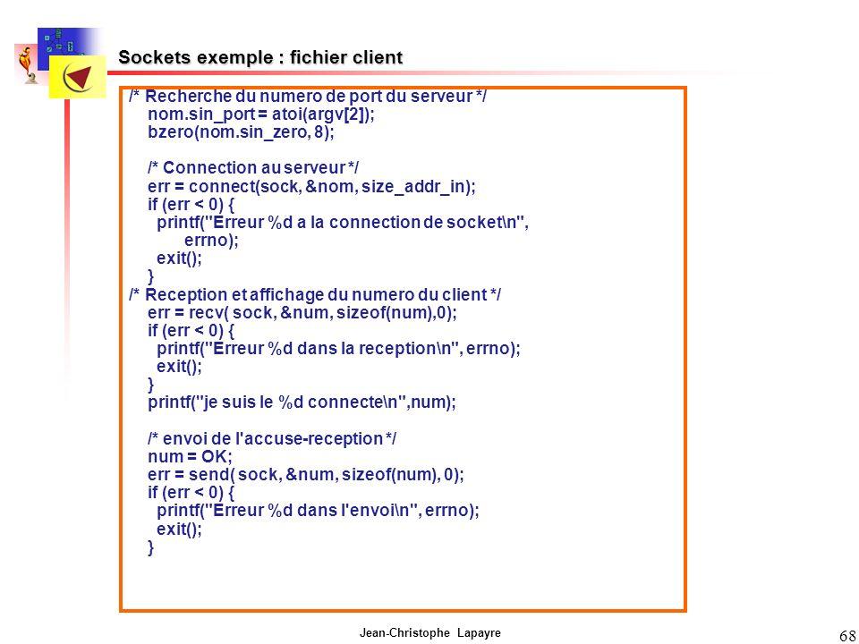 Sockets exemple : fichier client