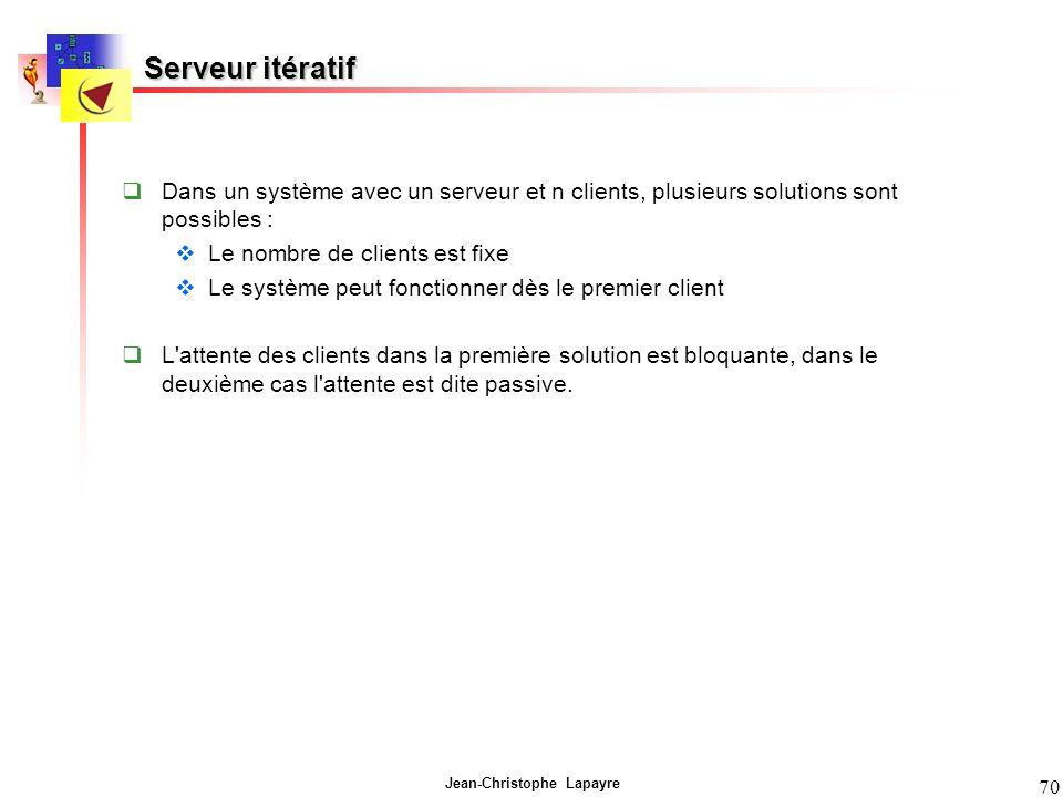 Serveur itératif Dans un système avec un serveur et n clients, plusieurs solutions sont possibles :