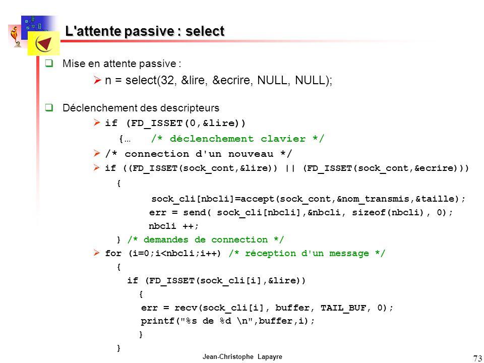 L attente passive : select
