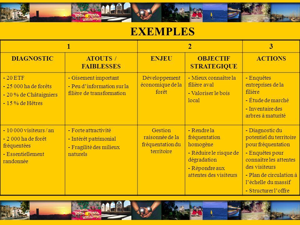 EXEMPLES 1 2 3 DIAGNOSTIC ATOUTS / FAIBLESSES ENJEU