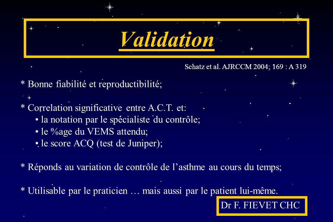 Validation * Bonne fiabilité et reproductibilité;