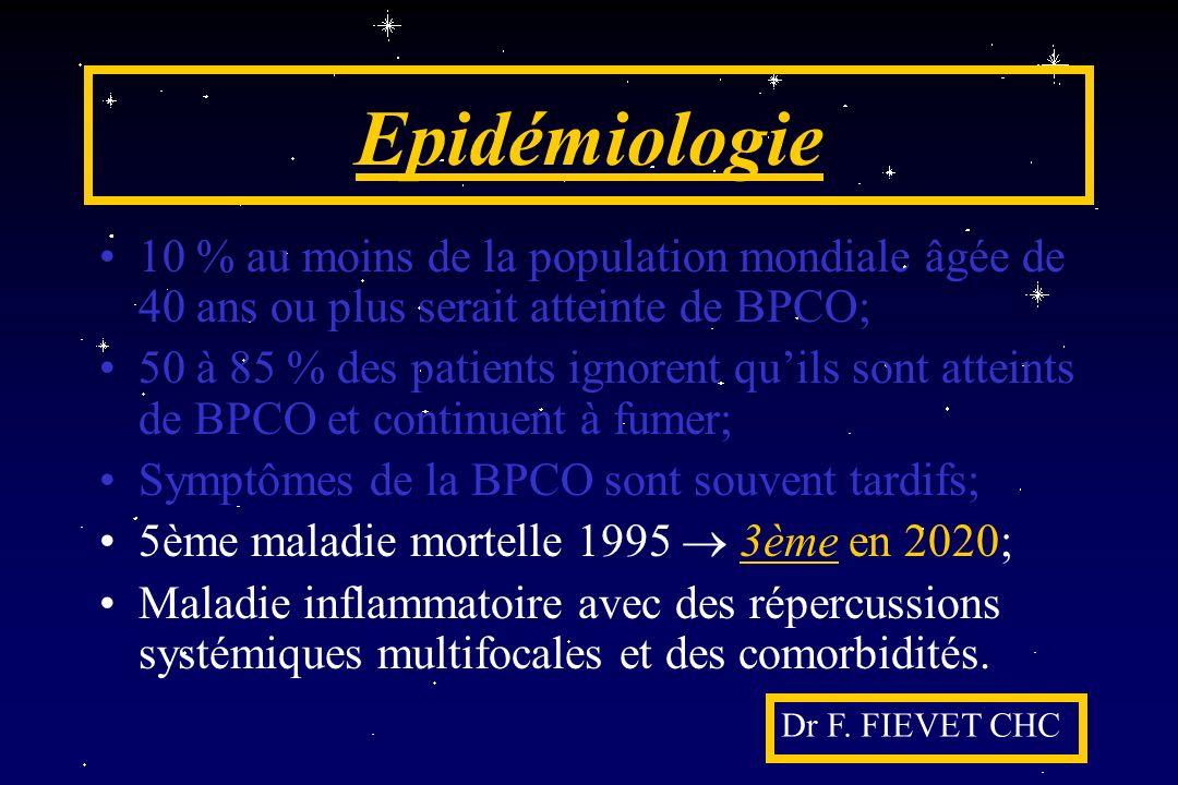 Epidémiologie 10 % au moins de la population mondiale âgée de 40 ans ou plus serait atteinte de BPCO;