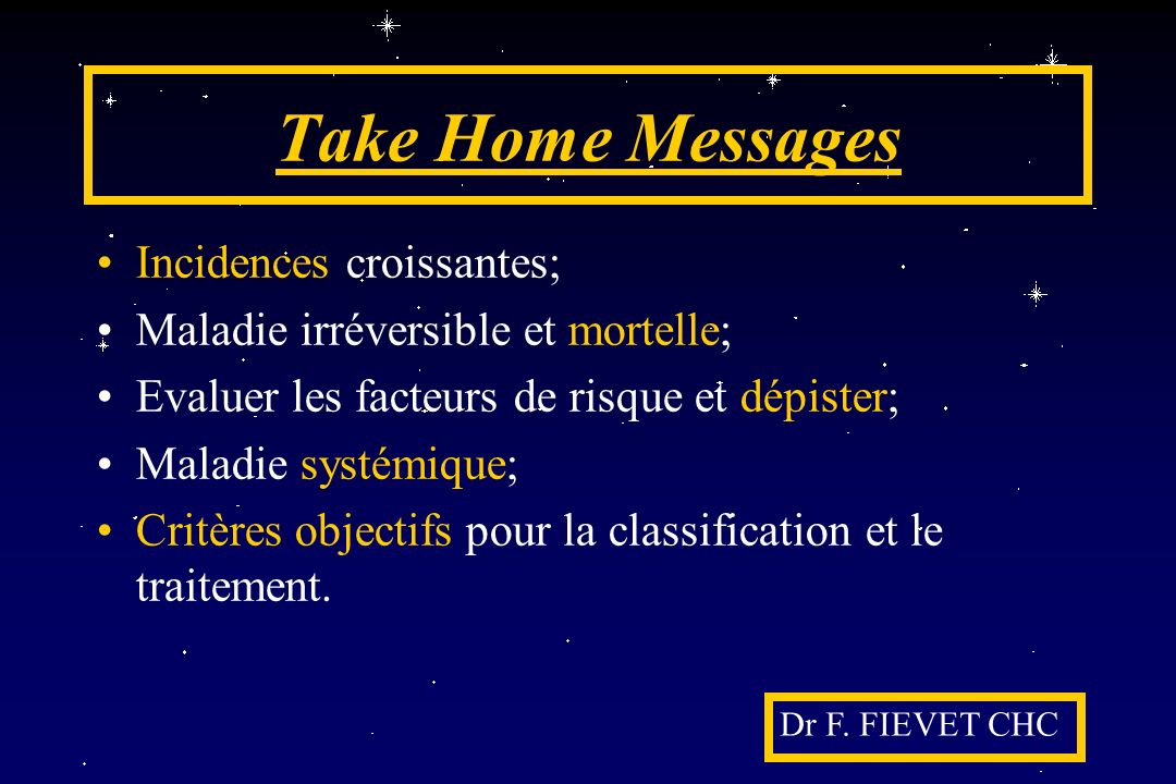 Take Home Messages Incidences croissantes;