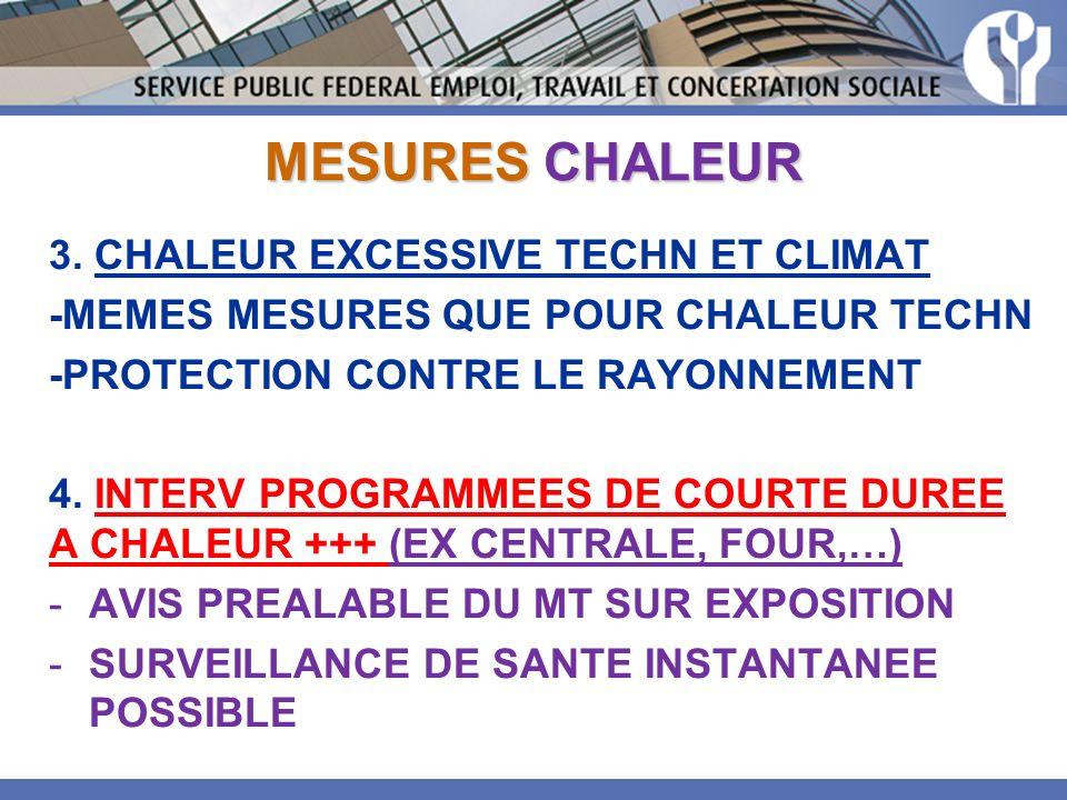 MESURES CHALEUR 3. CHALEUR EXCESSIVE TECHN ET CLIMAT