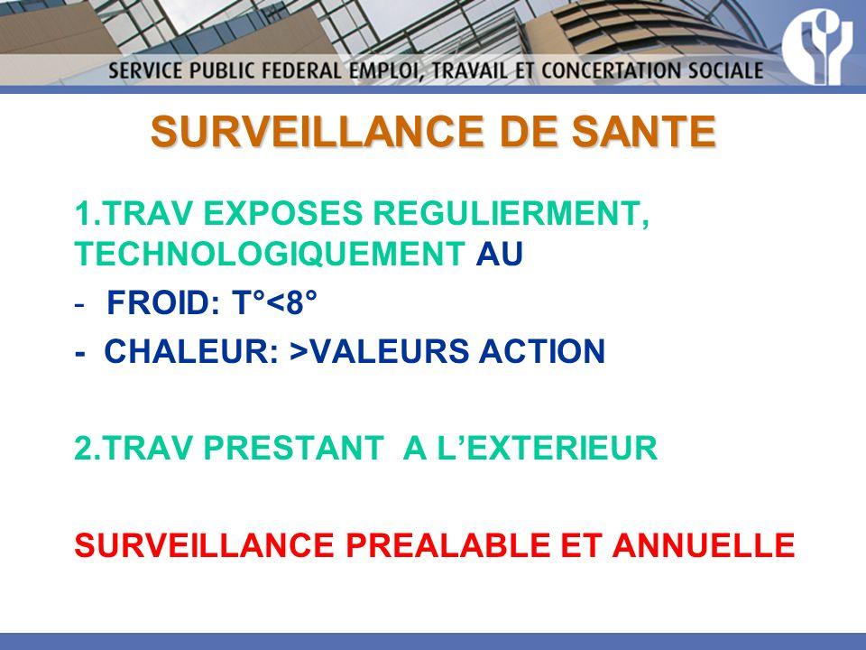 SURVEILLANCE DE SANTE 1.TRAV EXPOSES REGULIERMENT, TECHNOLOGIQUEMENT AU. FROID: T°<8° - CHALEUR: >VALEURS ACTION.