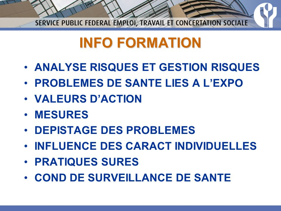 INFO FORMATION ANALYSE RISQUES ET GESTION RISQUES