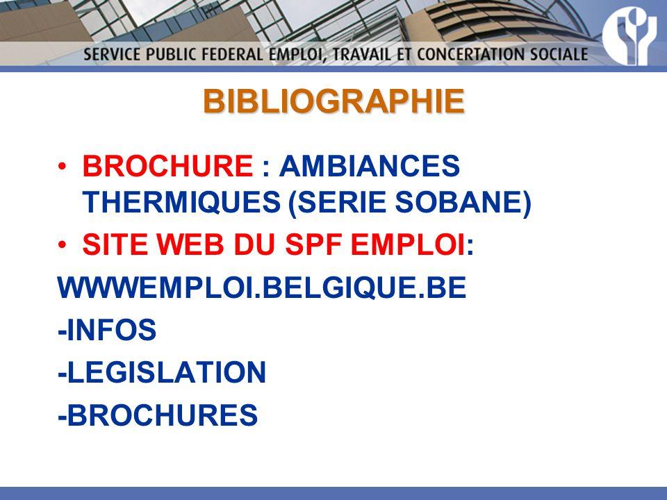 BIBLIOGRAPHIE BROCHURE : AMBIANCES THERMIQUES (SERIE SOBANE)