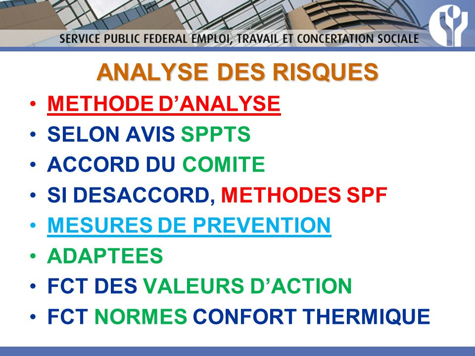 ANALYSE DES RISQUES METHODE D'ANALYSE SELON AVIS SPPTS