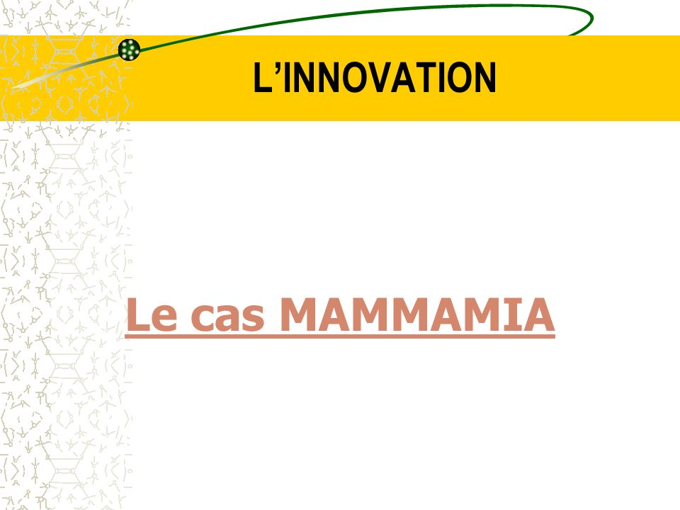 L'INNOVATION Le cas MAMMAMIA