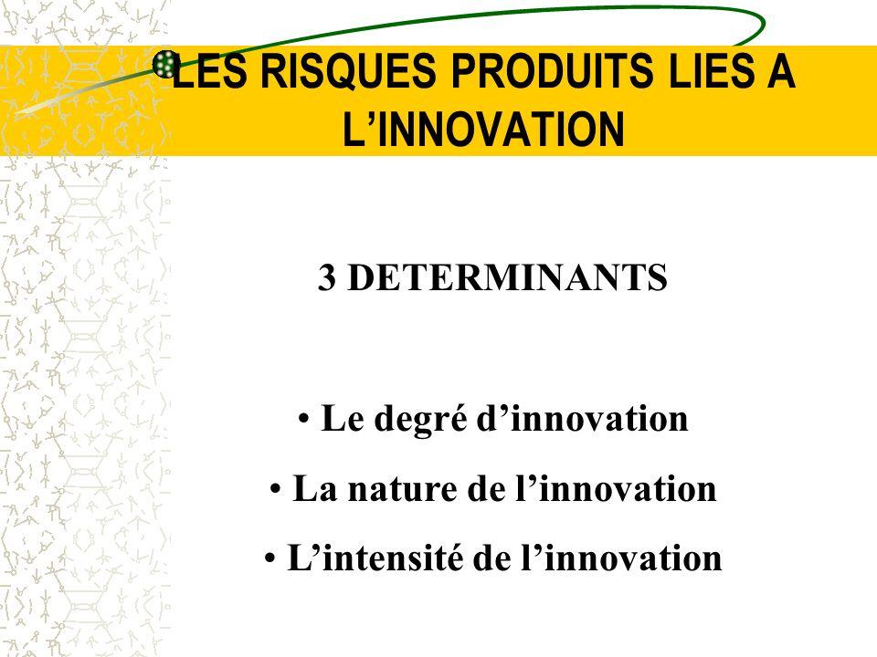 LES RISQUES PRODUITS LIES A L'INNOVATION