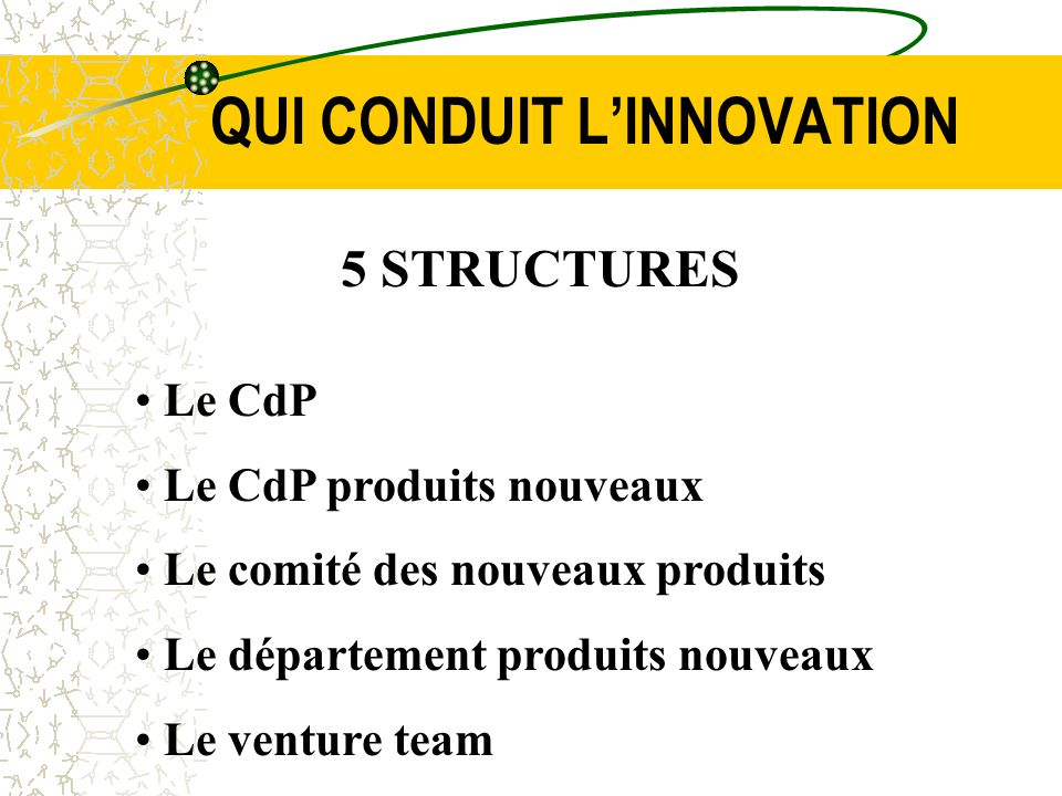 QUI CONDUIT L'INNOVATION