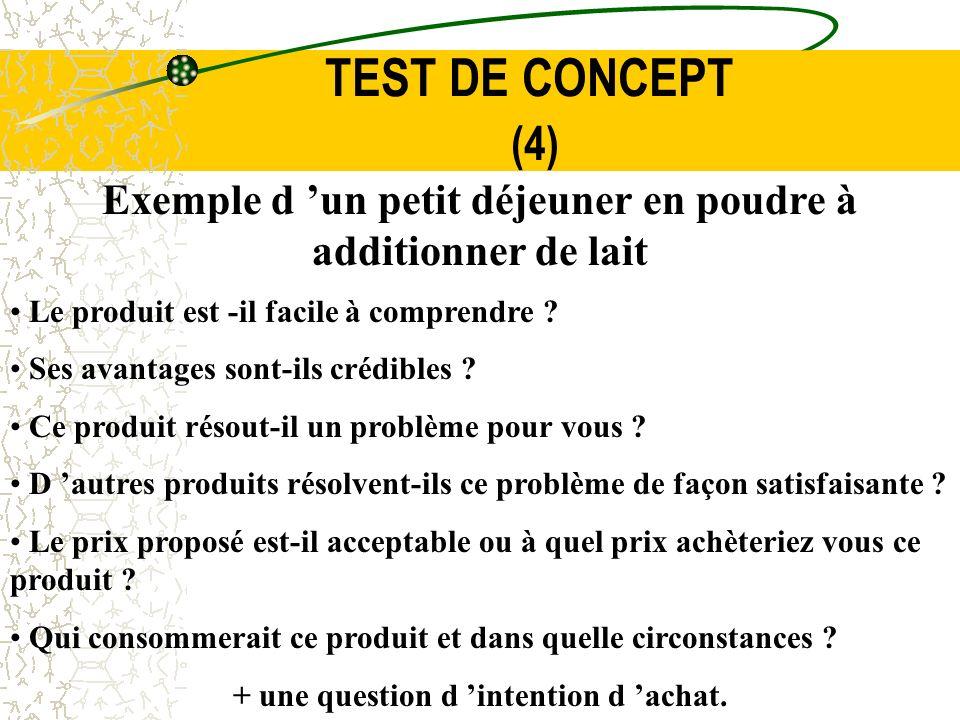TEST DE CONCEPT (4) Exemple d 'un petit déjeuner en poudre à additionner de lait. Le produit est -il facile à comprendre