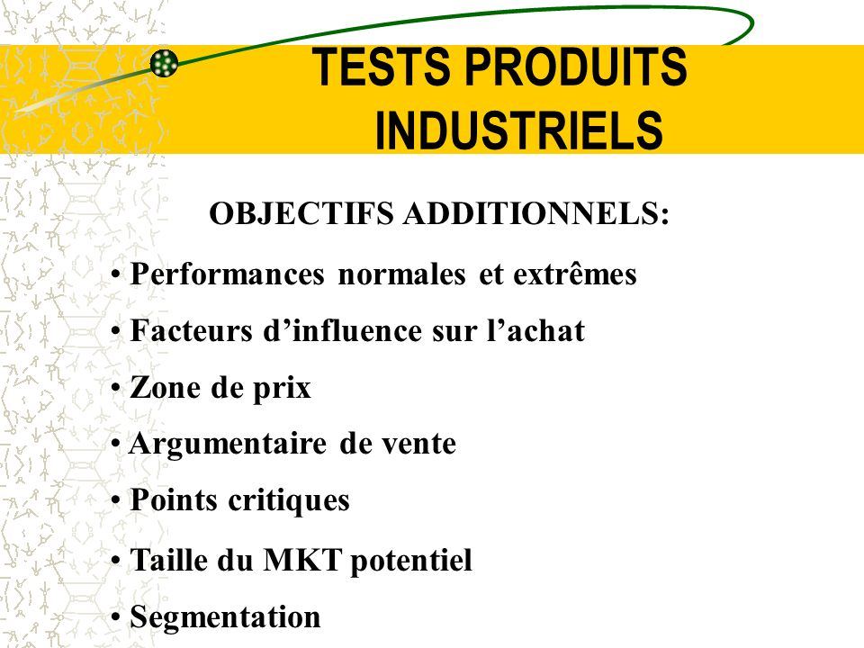 TESTS PRODUITS INDUSTRIELS