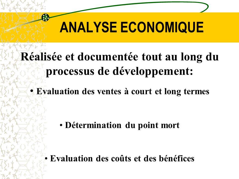 ANALYSE ECONOMIQUE Réalisée et documentée tout au long du processus de développement: Evaluation des ventes à court et long termes.