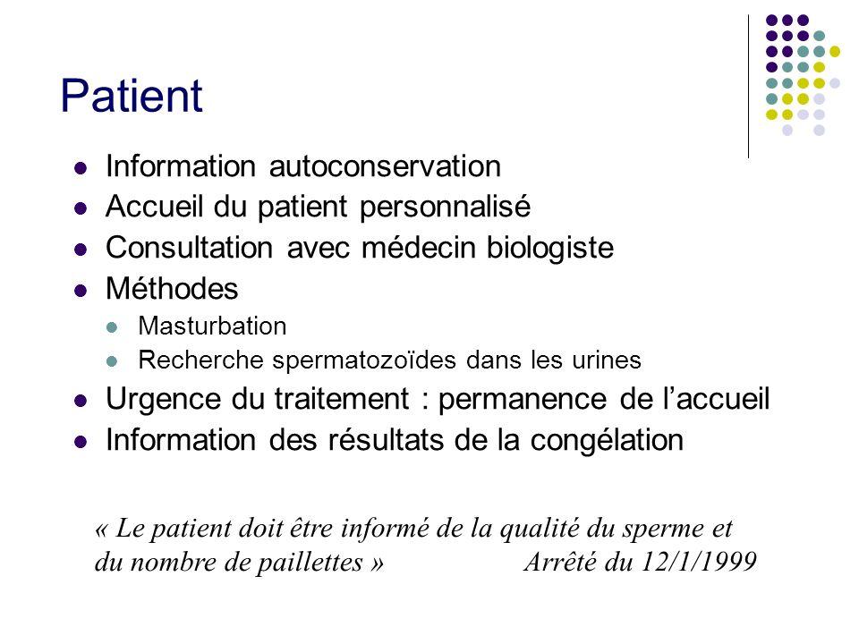 Patient Information autoconservation Accueil du patient personnalisé